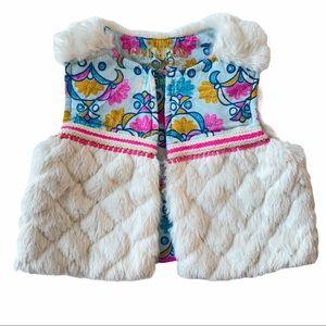 Oshkosh bohemian floral print plush vest white 18M